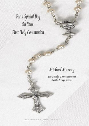 Personalised Rosary Beads Communion Card